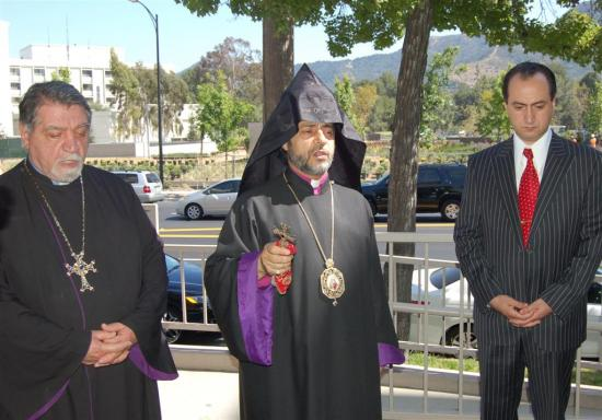 US-Armenia TV facilities in Burbank are blessed in a visit by Archbishop Hovnan Derderian