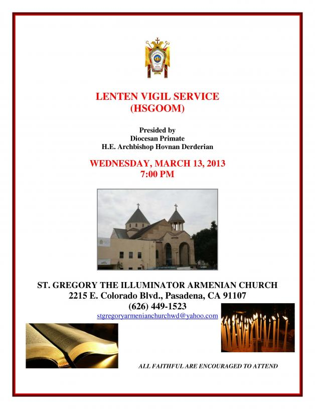 Lenten VIGIL March 13 2